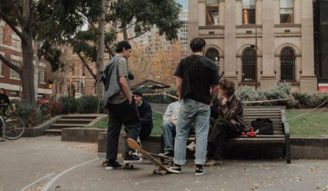 Teens on Bench